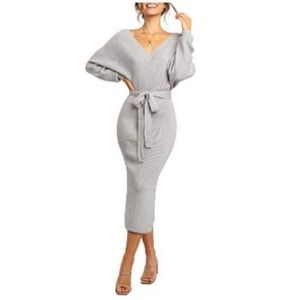 Womens SideSlit Winter sexy Midi Wrap BodyconDress